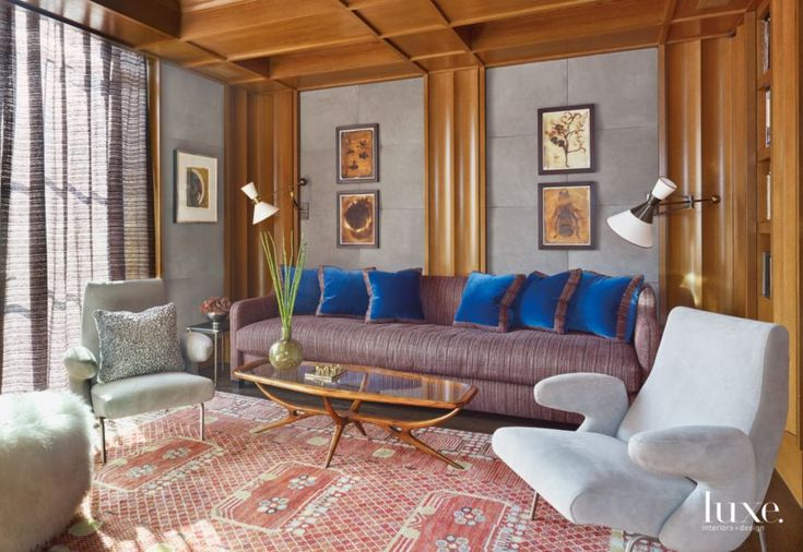 Transitional Gray Den with Antique Coffee Table | LuxeSource | Luxe Magazine - The Luxury Home Redefined