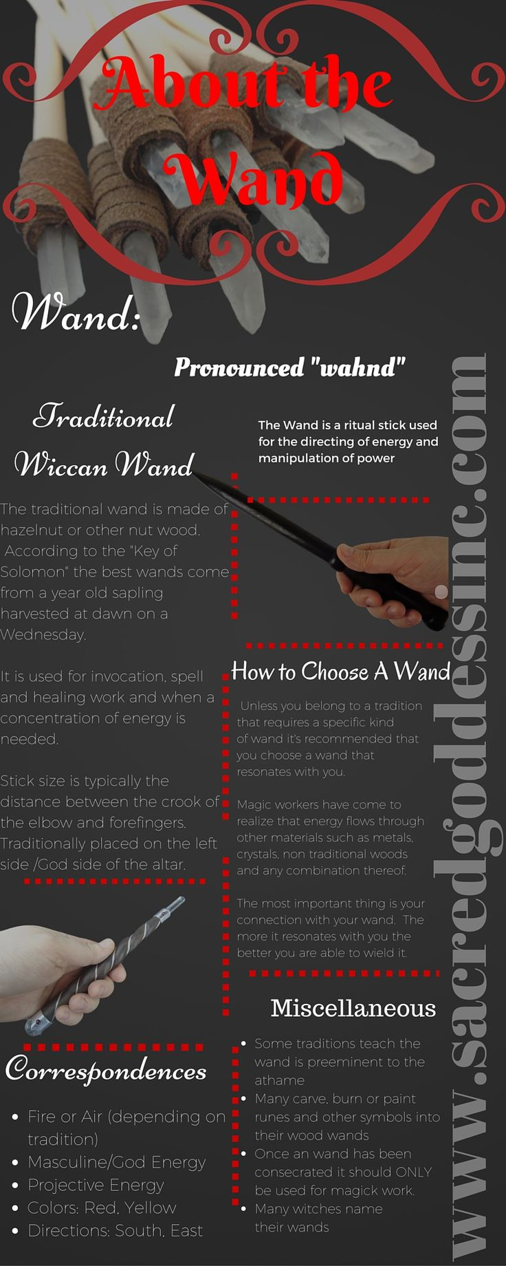 Wicca for Beginners - Magic Magick Wand Correspondences & Other Info. Follow us for more great infographs. Click the pic to visit our website.
