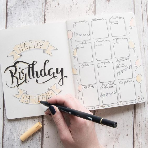 Birthday Reminder for Bullet Journal