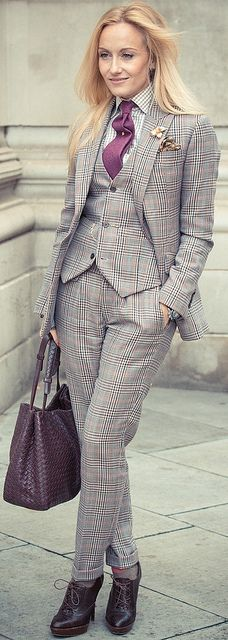 Sarah Ann Murray. Nice use of the tie pin! | See more about Women Ties, Ties and…