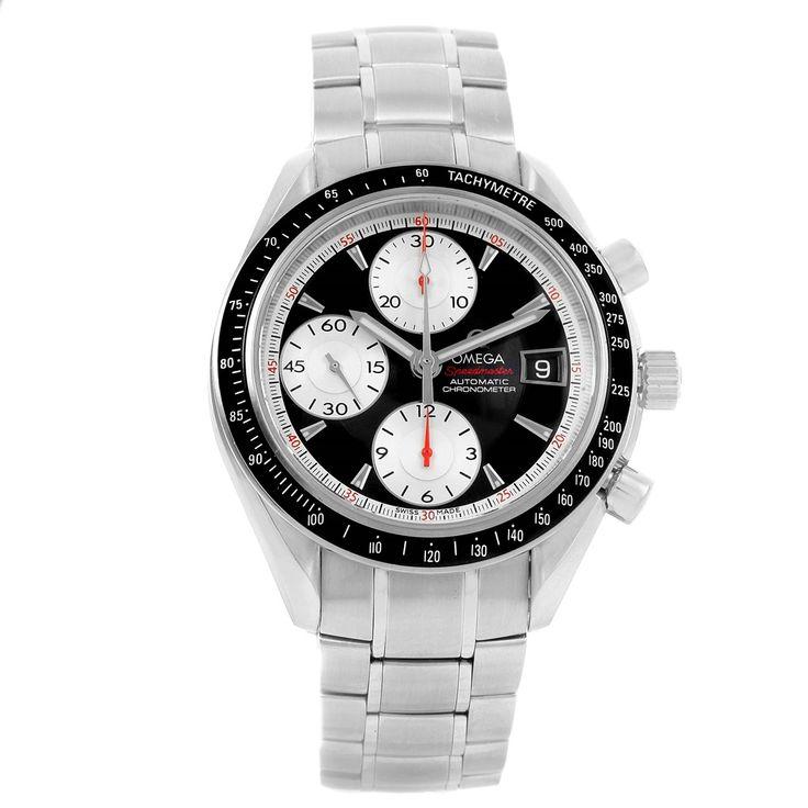14702 Omega Speedmaster Date 40mm Black Silver Dial Watch 3210.51.00 SwissWatchExpo