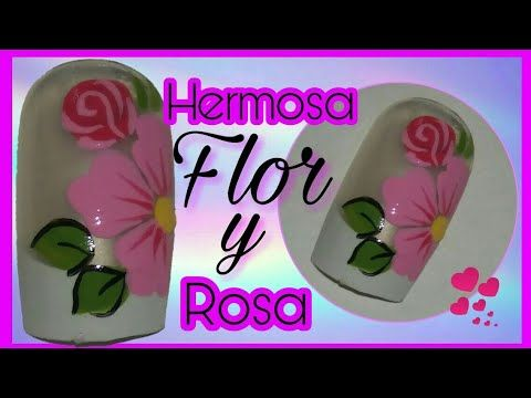 Decoración de uñas con flor rosada - YouTube