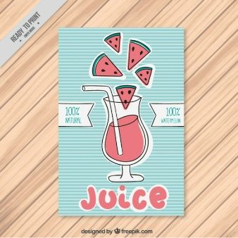 Hand drawn flyer with watermelon juice