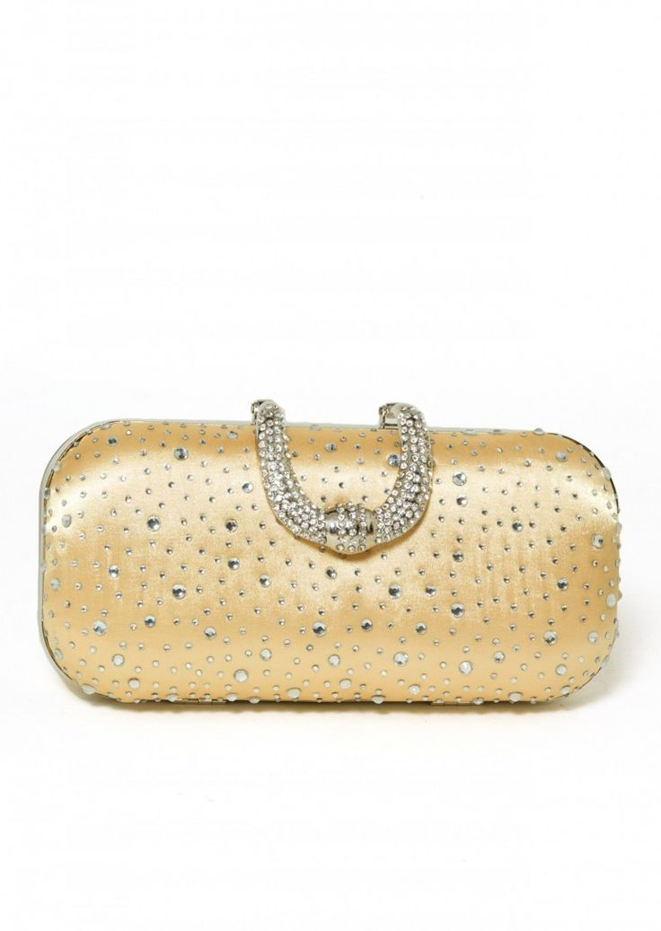 Pale Gold Satin Evening Bag perfect bag for that little black dress  This evening bag has a pretty sequin detail and stunning diamante clasp  This satin evening bag is just the right size for putting the must have essentials in for a posh night out!  Complete with detachable chain so that you can slip it on your shoulder and still have wine glass in hand and one hand free for those tempting canapes while knowing your bag is safe!