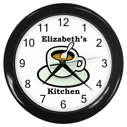 Personalized+Coffee+Cup+Kitchen+Wall+Clock