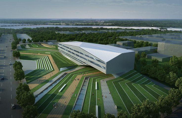 Zhengzhou Airport District Urban Planning EXhibition Centre Proposal / AUA // angular landscape