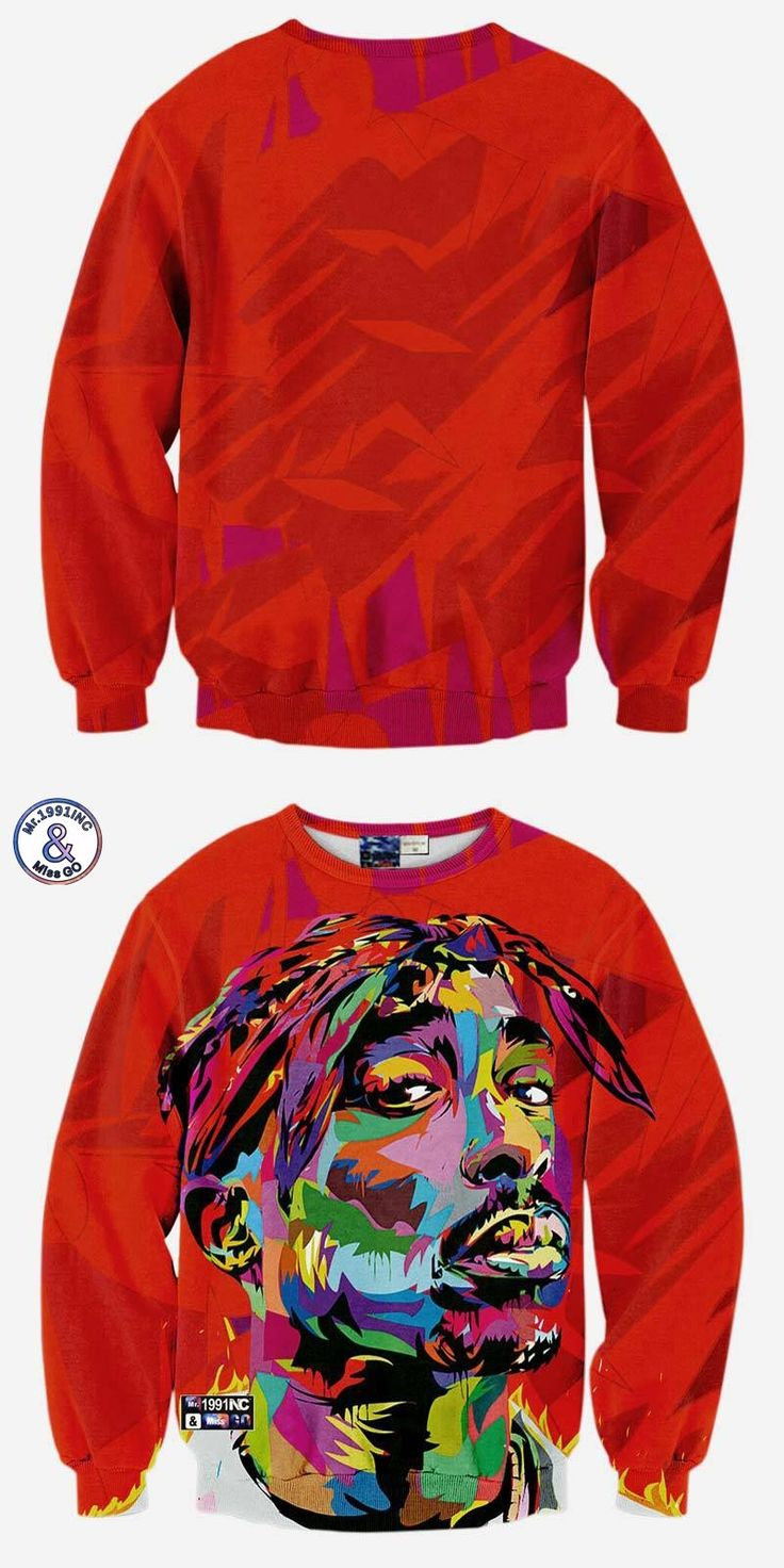 2017 Mr.1991INC Hip hop 3d sweatshirt for men autumn pullovers print rapper Tupac 2pac hoodies long sleeve tops red color