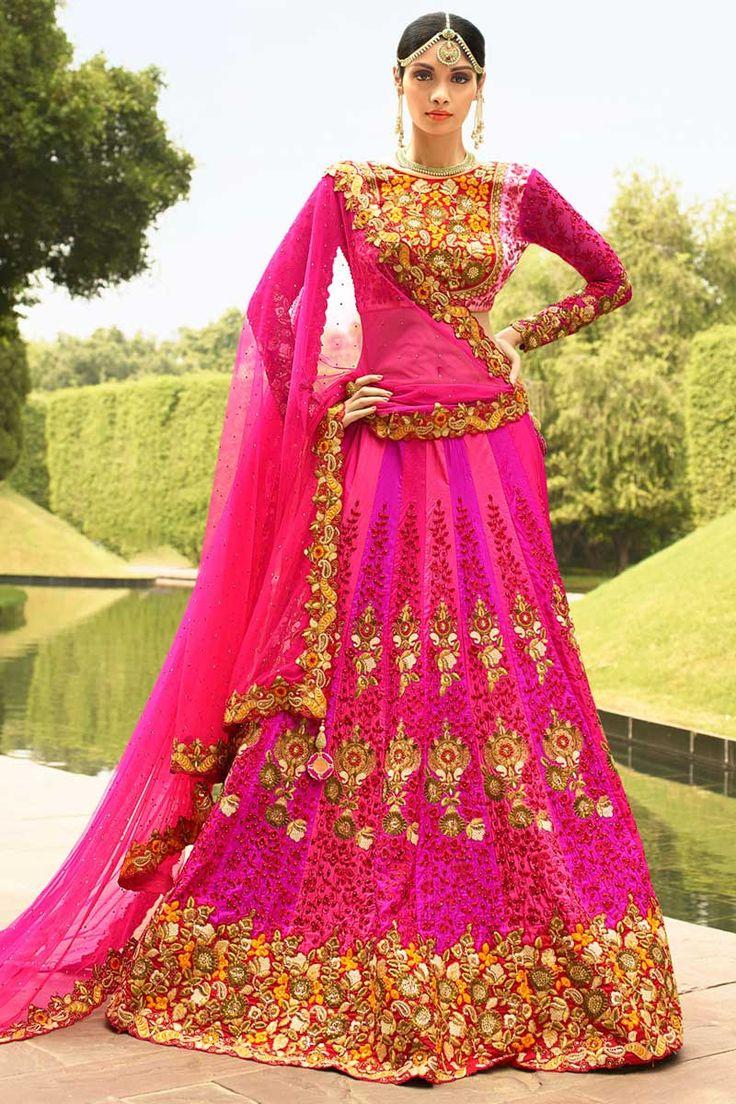 #AndaazFashion presents Pink Art Silk Lehenga Choli and Net Dupatta  http://www.andaazfashion.fr/womens/lehenga-choli/asian-lehenga-pink-art-silk-chaniya-choli-andaaz-fashion-dmv8510.html
