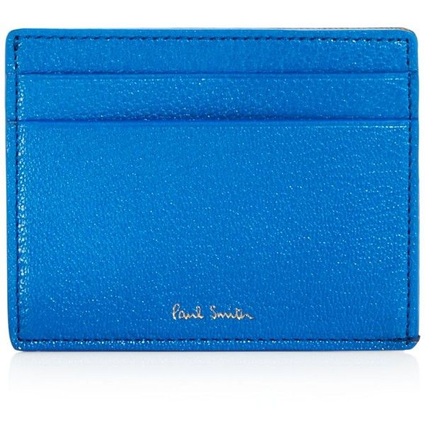 Paul Smith Pebbled Leather Colorblock Card Case ($150) ❤ liked on Polyvore featuring men's fashion, men's bags, men's wallets, blue, mens card case wallet, blue mens wallet, paul smith mens wallet and mens card holder wallet