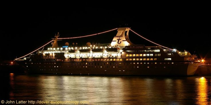 MS Astor Cruise Ship at Night, Admiralty Pier, Western Docks, Dover Harbour, Kent, UK