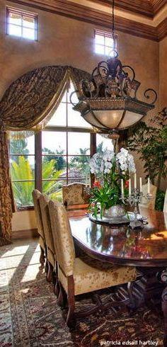 Old World Dining Room Mediterranean CurtainsMediterranean DecorTuscan