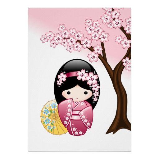 SOLD! Yet again to a customer in France. Spring Kokeshi Doll Print $19.70 #cute #kawaii #kokeshi