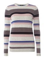 Womens Multi Coloured Stripe Jumper- Multi Colour