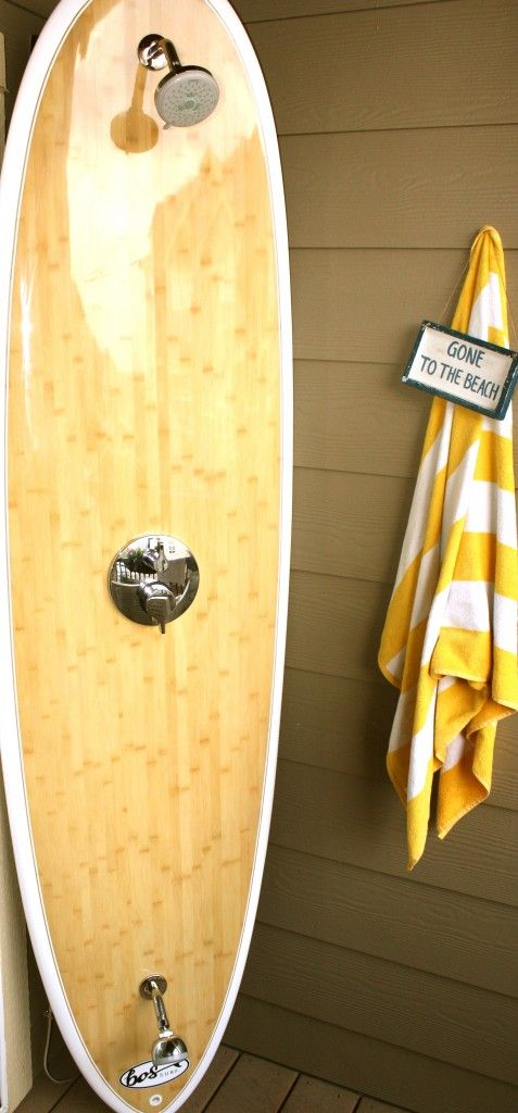 25 best ideas about pool bathroom on pinterest outdoor for Diy outdoor shower surfboard
