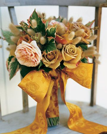 bouquet of plush 'Pieter B' and 'Evelyn' garden roses, bunny tails, and pink-edged variegated dogwood: Ideas, Bridal Bouquets, Fall Wedding Bouquets, Color, Autumn, Ribbons, Weddings, Gardens Rose, Flower