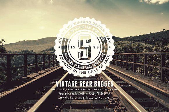 Vintage Gear Badges by Yusof Mining on @creativemarket