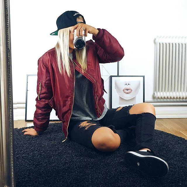 @jennyahtela wears our LAIN bomber jacket in wine £20 free delivery. SHOP HERE: http://www.wearall.com/lain-zip-bomber-jacket