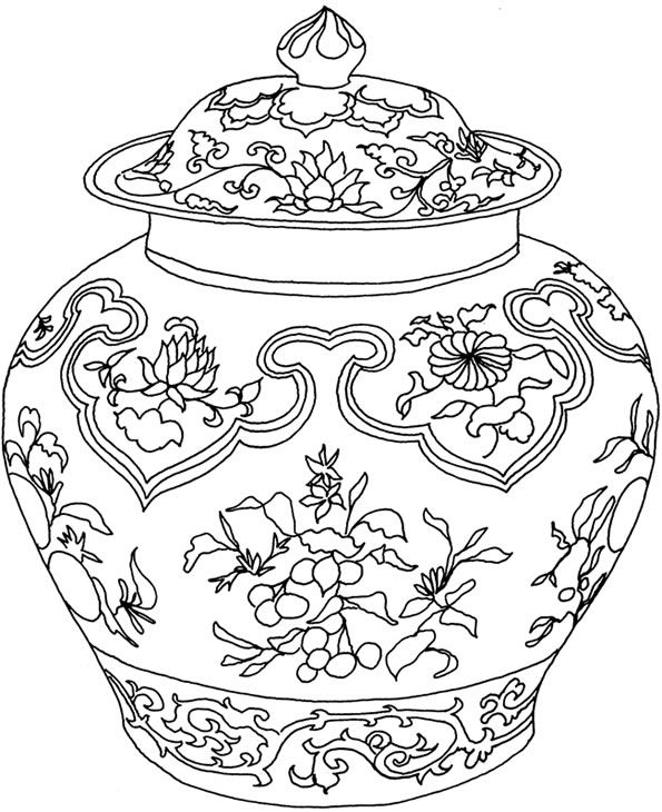 flower vase design coloring pages - photo#14