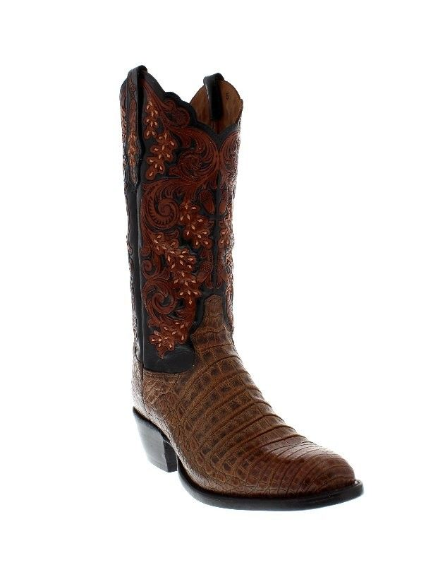 You'll sport a luxurious western look with these pecan belly antique caiman  men's boots from Tony Lama's Signature series.
