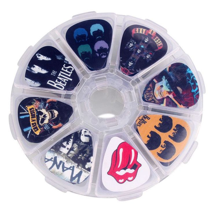 50pcs Rock Band cartoon Guitar Picks Mix Plectrums + Clear Makeup Draw Case Bead Box earrings DIY