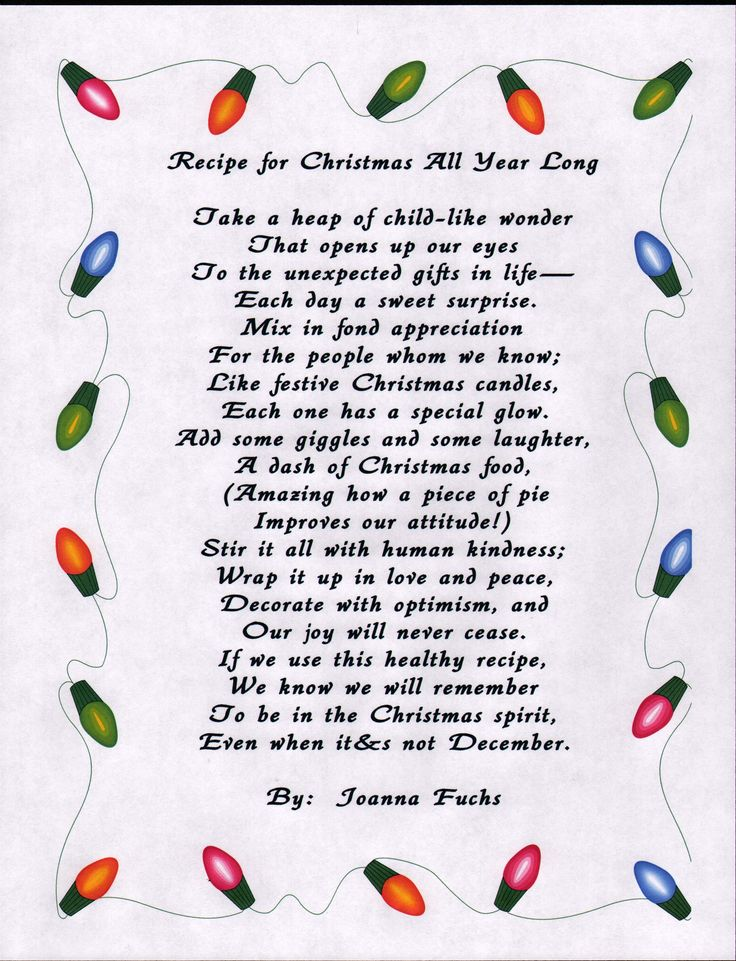 Poem - Recipe for Christmas All Year Long | Christmas ...