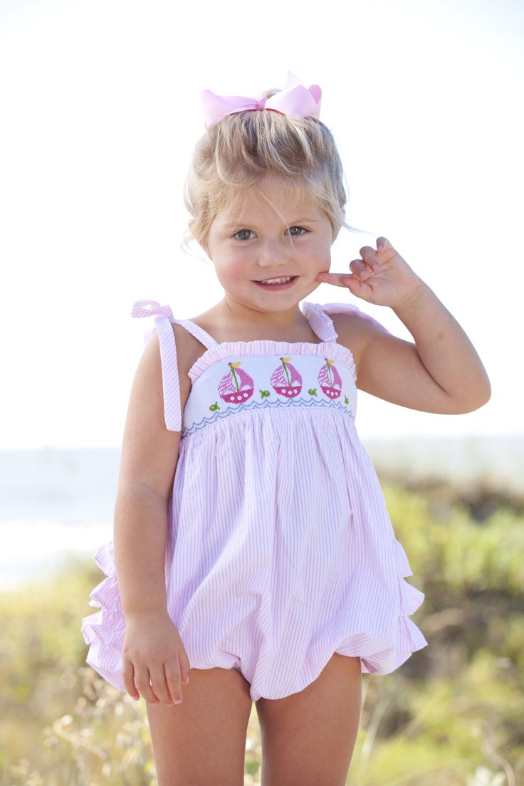 girls sailboat smocked bubble