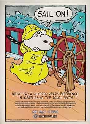 Snoopy Ship Wheel Schulz Art 1987 Ad Metropolitan Insurance AD