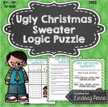 Who loves (1) Logic Puzzles (2) FREE things and (3) Ugly Christmas sweaters? If you love all three of those things, this is the perfect resource!