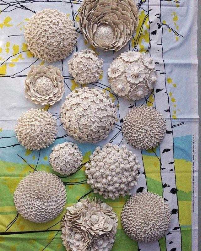 Stylized Decorative Ceramic Wallflowers Bring A Unique Textural to Wall or Table by Vanessa Hogge.|CutPasteStudio|Illustrations, Entertainment, beautiful,creativity, Art, Artwork, Artist, nature, sculptures, porcelain, ceramics.