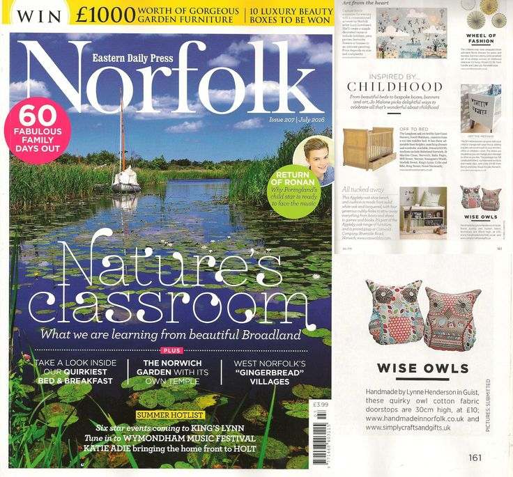 Handmade In Norfolk Owls as seen in the July edition of the EDP Norfolk Magazine. Custom orders welcome!
