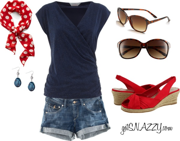 """4th of July Outfit: scarf headband & espadrilles!"" by getsnazzy ❤ liked on Polyvore"