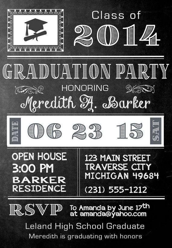 Chalkboard Graduation Invitation - Printable Graduation Announcement - College or High School