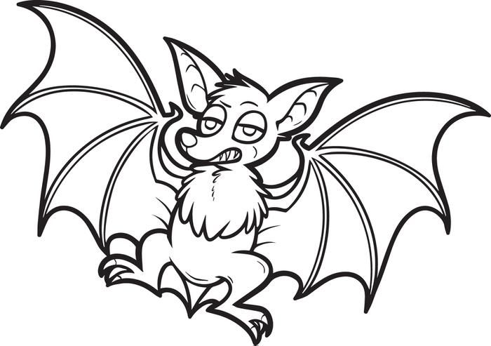 Halloween Bat Coloring Pages LineArt HalloweMonsters