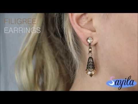 Making jewelry - Filigree Earrings (DIY tutorial by Sayila)