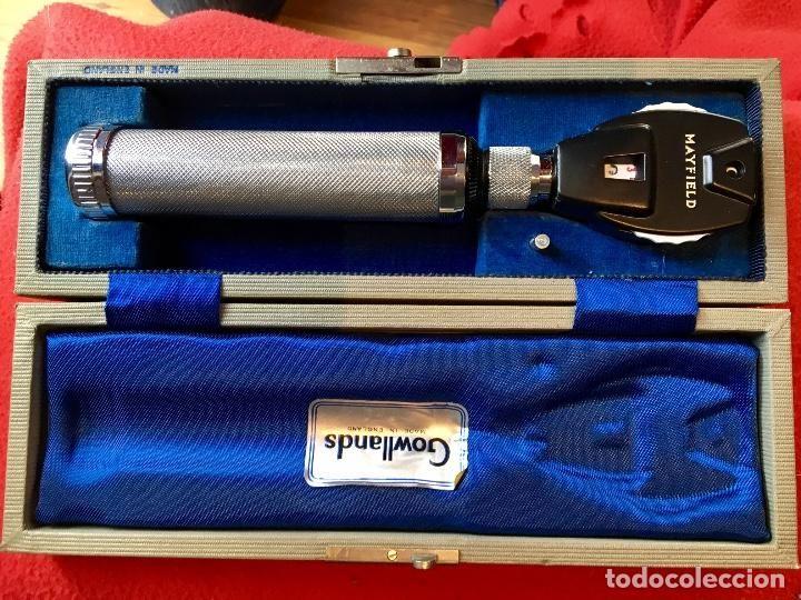Antigüedades: oftalmoscopio ophtalmoscope Gowllands fabricado en londres caja forrada edicion de lujo - Foto 4 - 62274240