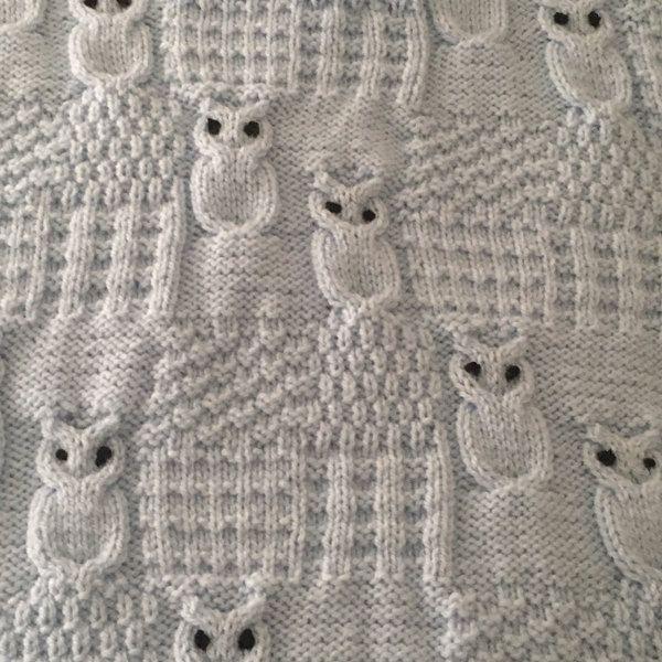 Wise Owl Blanket For Car Seat Stroller And Pram Knitting