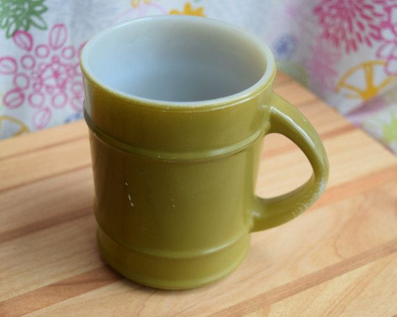Vintage Anchor Hocking Oven-Proof Green Milk Glass Coffee