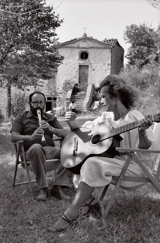 Umberto Eco and his wife - a German art historian and curator Renate Ramge (1983)