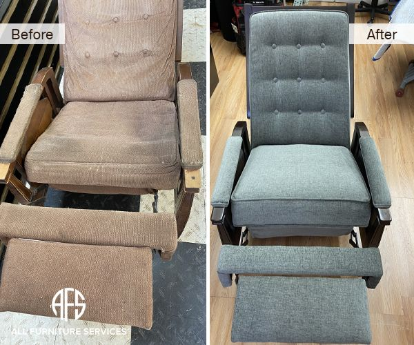 Old Antique Grand Rocking Recliner Chair Repair Replace Mechanism Footrest Back Seat Re Upholster Materail Make New In 2020 Furniture Sofa Bed Repair Leather Furniture