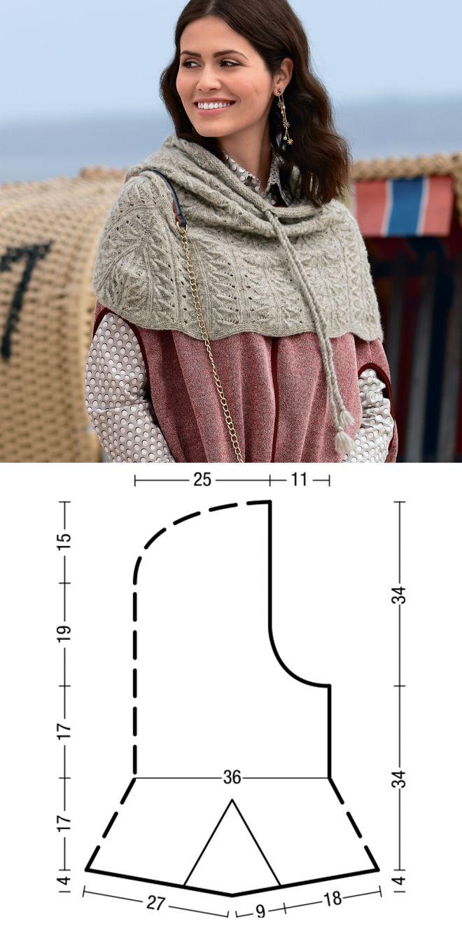 Накидка с капюшоном - схема вязания спицами. Вяжем Накидки на Verena.ru