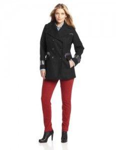 Wool coats women  Via Spiga Women's Plus-Size Peacoat with Faux Leather Trim, Black, 16W Big Discount
