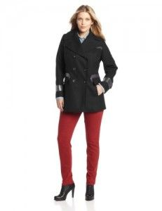 Wool coats women  Via Spiga Women's Plus-Size Peacoat with Faux Leather Trim, Black, 16W Big Discount