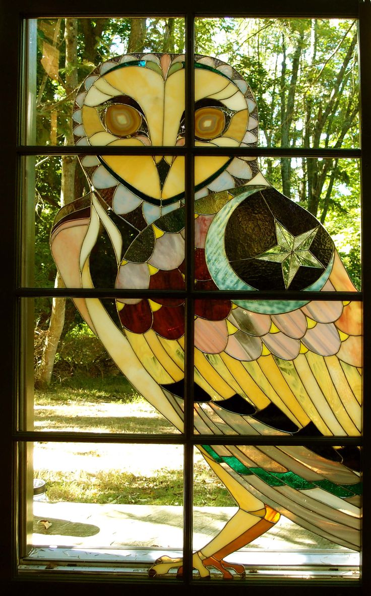 Beach theme decoration stained glass window panels arts crafts - Stained Glass Barn Owl Installed In The Artist S Glass Cabin