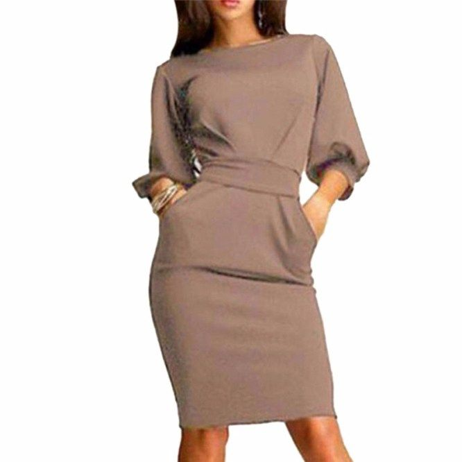 2017 New Woman Spring Summer Casual Dresses Women O-neck Half Sleeve with Pockets Office OL Party Dress Vestidos Mujer