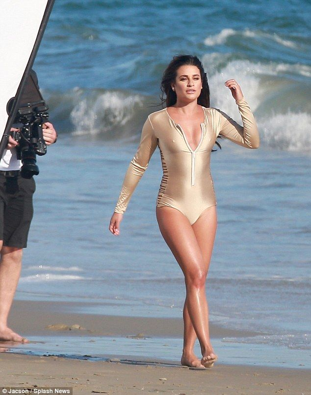 Cover girl:The Glee leading lady rocked a yellow one piece and glam gold bodysuit for the shots
