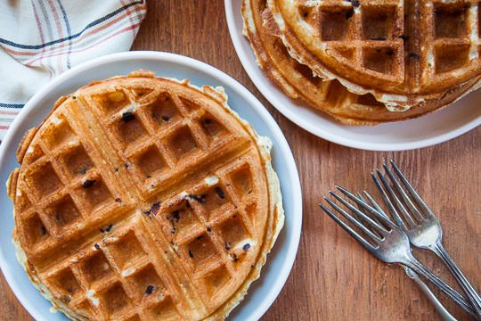Best Belgian Waffle Recipe with a yeasted batter and bacon! Photo and Recipe by Irvin Lin of Eat the Love.