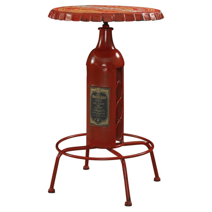 Powell Bottle Round Pub Table - Red - 867-350