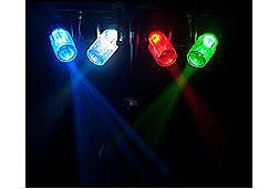 Chauvet 4PLAYCL Rack with 4x LED Moonflower Compact DJ Lighting Effects with Clear Shells - Red Green Blue White Diodes includes Gig Bag