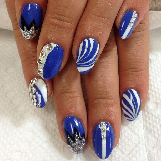 Royal Blue And White Gel Nail Designs Nail Art