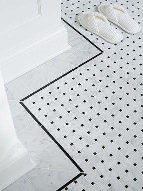 mi series octagon shape stone mosaic w/ black dots wall